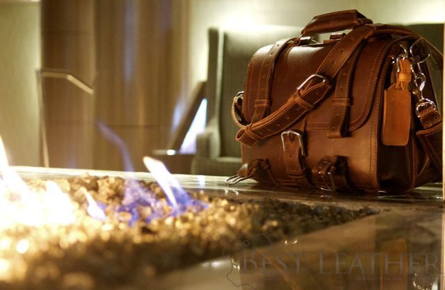Saddleback leather classic briefcase and fire