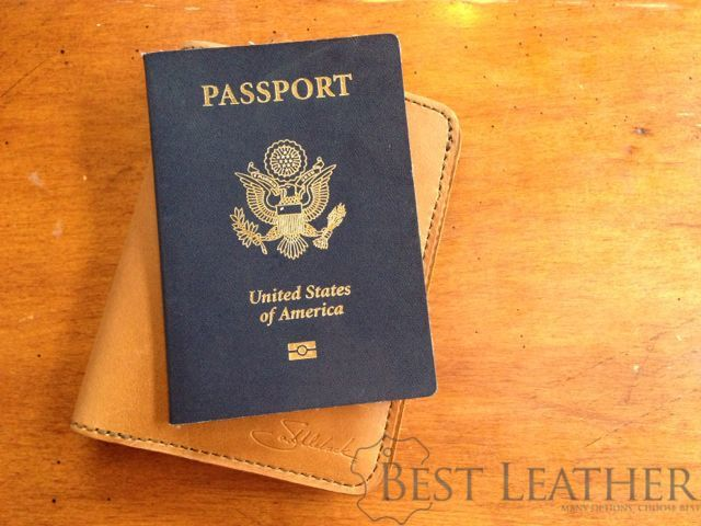 Saddleback Leather RFID Shielded Passport Wallet Tobacco with passport
