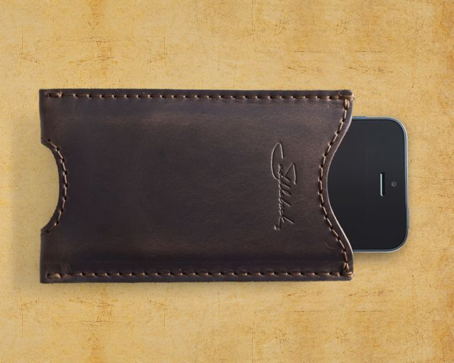 Saddleback Leather iPhone 5 case in Dark Coffee Brown top view with phone