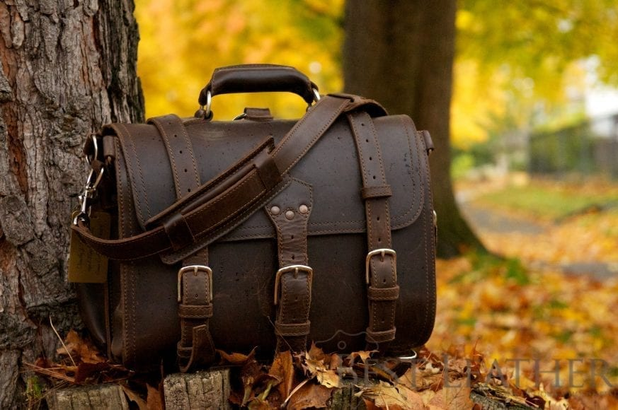Large Saddleback Leather Classic Briefcase DCB in the fall leaves