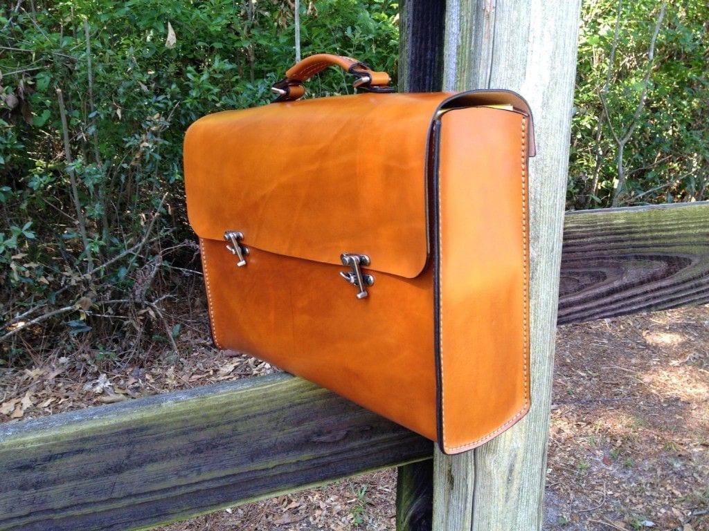 grizzly bear portfolio leather briefcase