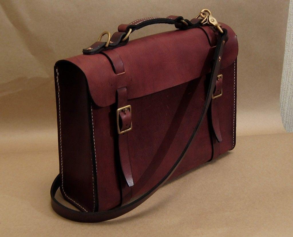 Cratgo hand stitched leather satchel