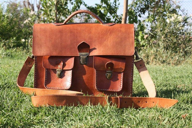 honey leather messenger bag