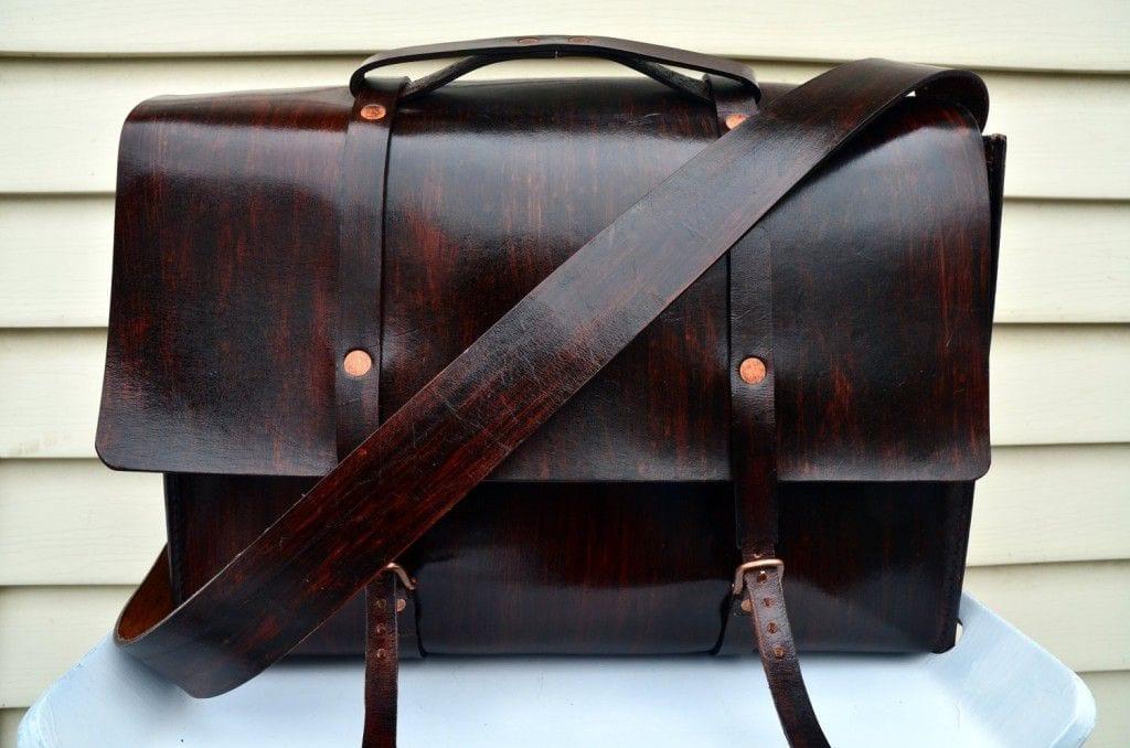Little Lion Man wood teak briefcase