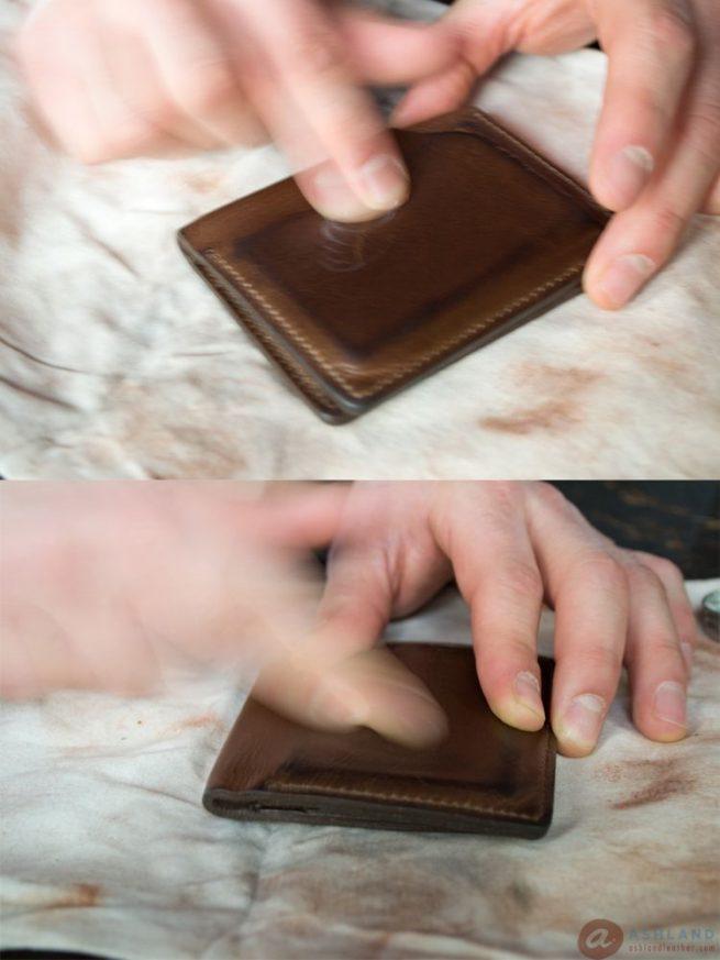 7Ashland Leather Co - Horween Chromexcel Scratch repair - apply venetian cream 2