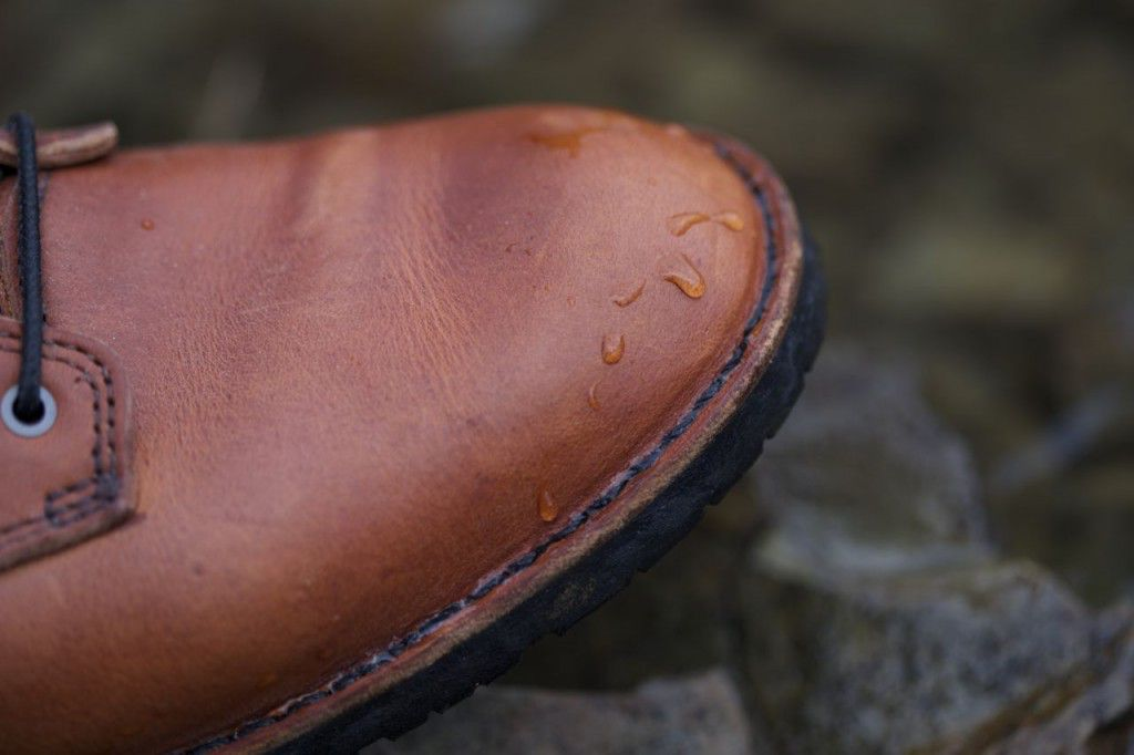 Water beading up -- a testament to OtterWax and Horween!