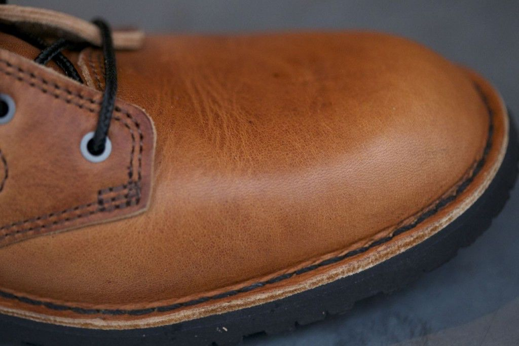 Goodyear welted sole. This is much more durable than a glued sole.