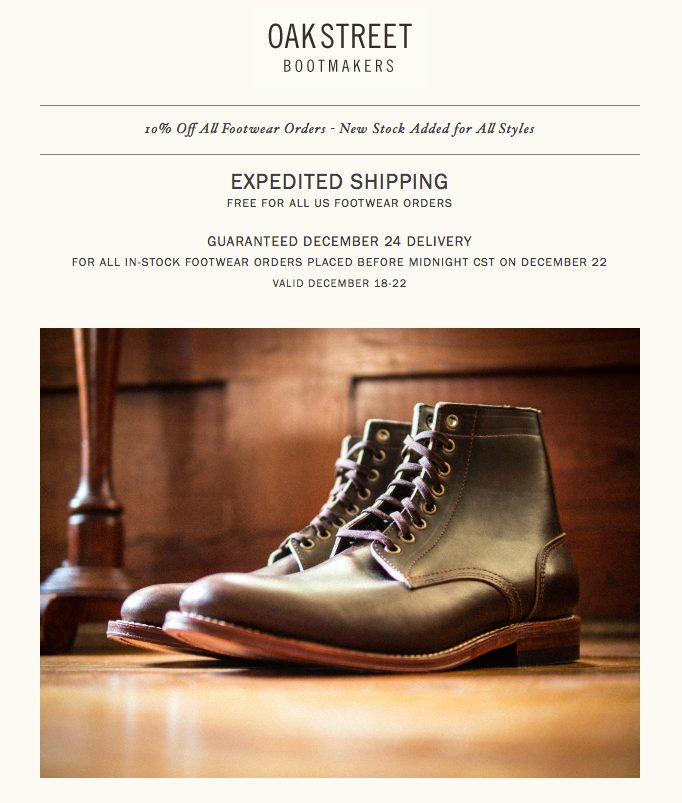 Oak Street Bootmakers Holiday Shipping Ad