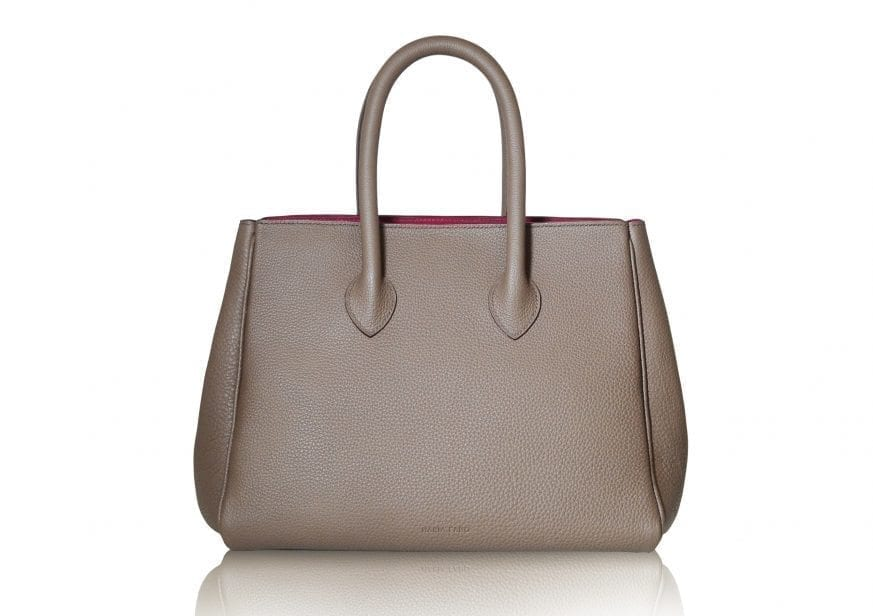 1. Taupe, magenta Michelle bag front