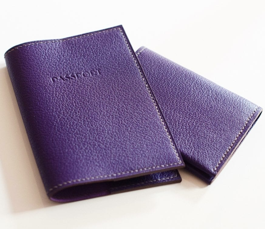 9. Purple card wallet and passport cover