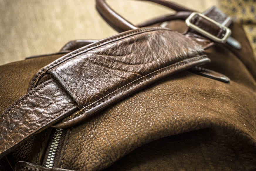 Moore-and-Giles-Benedict-Nubuck-Bison-Chocolate-Weekend-Bag-Review-$925-BestLeather.org-DSC01122