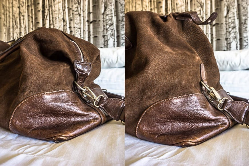 Moore-and-Giles-Benedict-Nubuck-Bison-Chocolate-Weekend-Bag-Review-$925-BestLeather.org-DSC01141-SPLIT