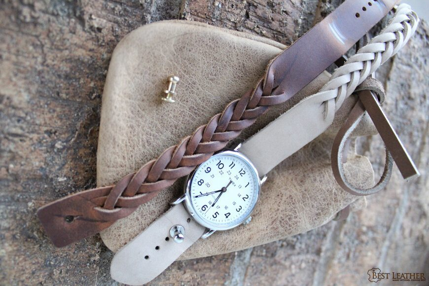 Best Leather Watch Straps >> North Star Mystery Braid Leather Button Stud Watch Band 16